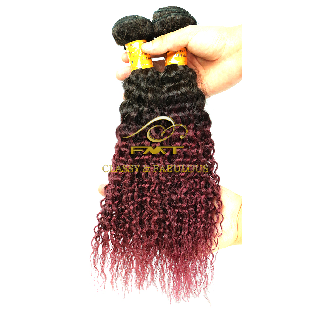 Two Tone Human Hair Red Ombre Curly Hair In Thailand Raw Virgin Unprocessed Human Hair