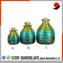 high quality hand printing set 3 glass insect trap in different color with iron wire handle and cork