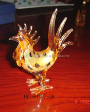 Small glass rooster in new design, hand-made