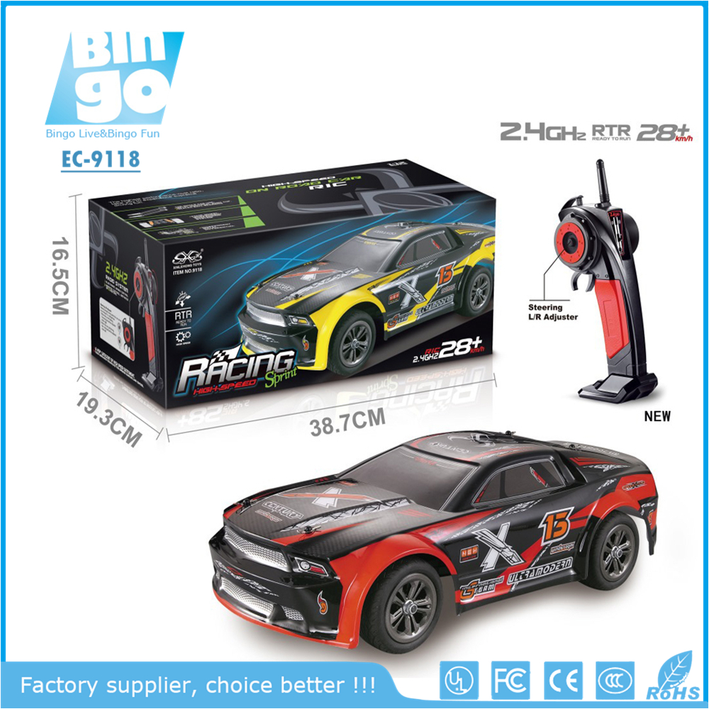 Bingo Amazon HOT 9118 RC Car 1/12 Scale Electric RC Truck Offroad 2.4Ghz 2WD High Speed 28+KMH Remote Controll Car(Red/Yellow)