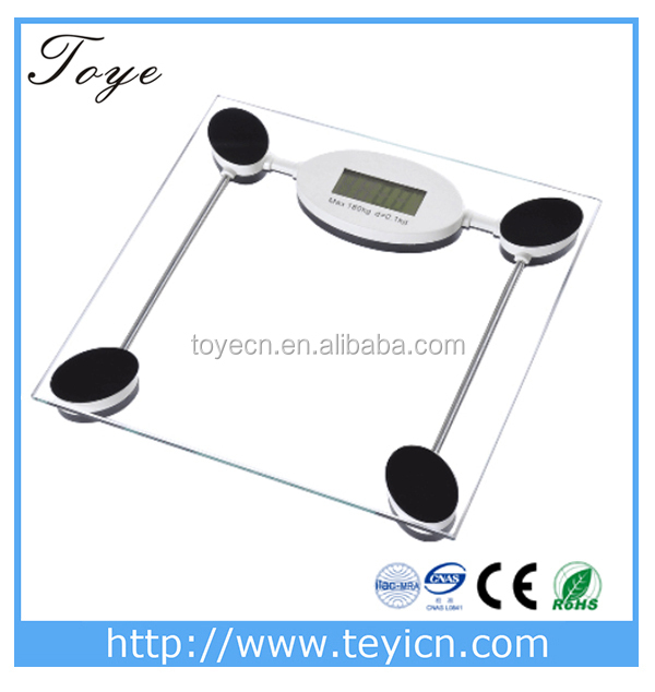 Capacity 396lb TOYE Digital talking bathroom <strong>scale</strong>,Transparent glass with black of Toye