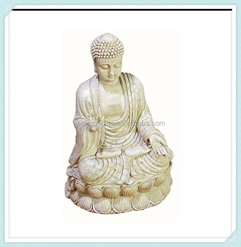Antique white polystone buddha beautifully carved