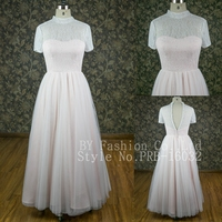 Real sample see through back plus size bridesmaid dress pink color chiffon evening dresses for wedding