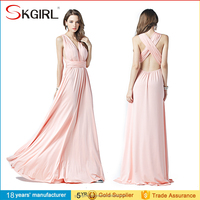 2015 New Sexy Elegant Royal Pink Bridesmaid Long Convertible Chiffon Evening Dress