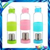 new silicone set of tennis &sports glass water bottle with tea stainer