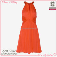 Formal/party wear dress elegant orange color silk chiffon free pattern halter neck dress for lady