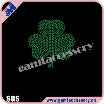 Bling CLOVER Rhinestone Iron On Transfer for St. Patrick Day