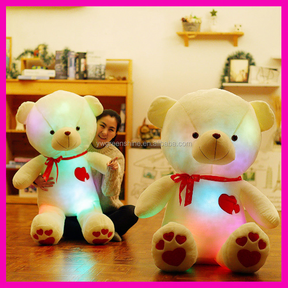2017 Hot Sale Christmas Gift Colorful Led Light Teddy Bear Plush Toy