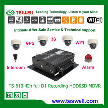 TESWELLTECH TS-610 4 Channels Car Security DVR Recorder / SD Card Video Recorder, Support 3G Sim Card,GPS Tracking