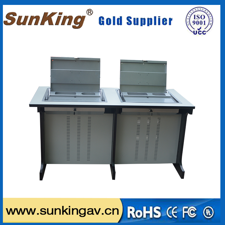 Hot Sale Two Person School Computer Metal Table Hidden Flip Up LCD Computer Desk For Two Computers Wholesale