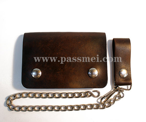 Chain mens leather small biker wallet snap bifold leather wallet