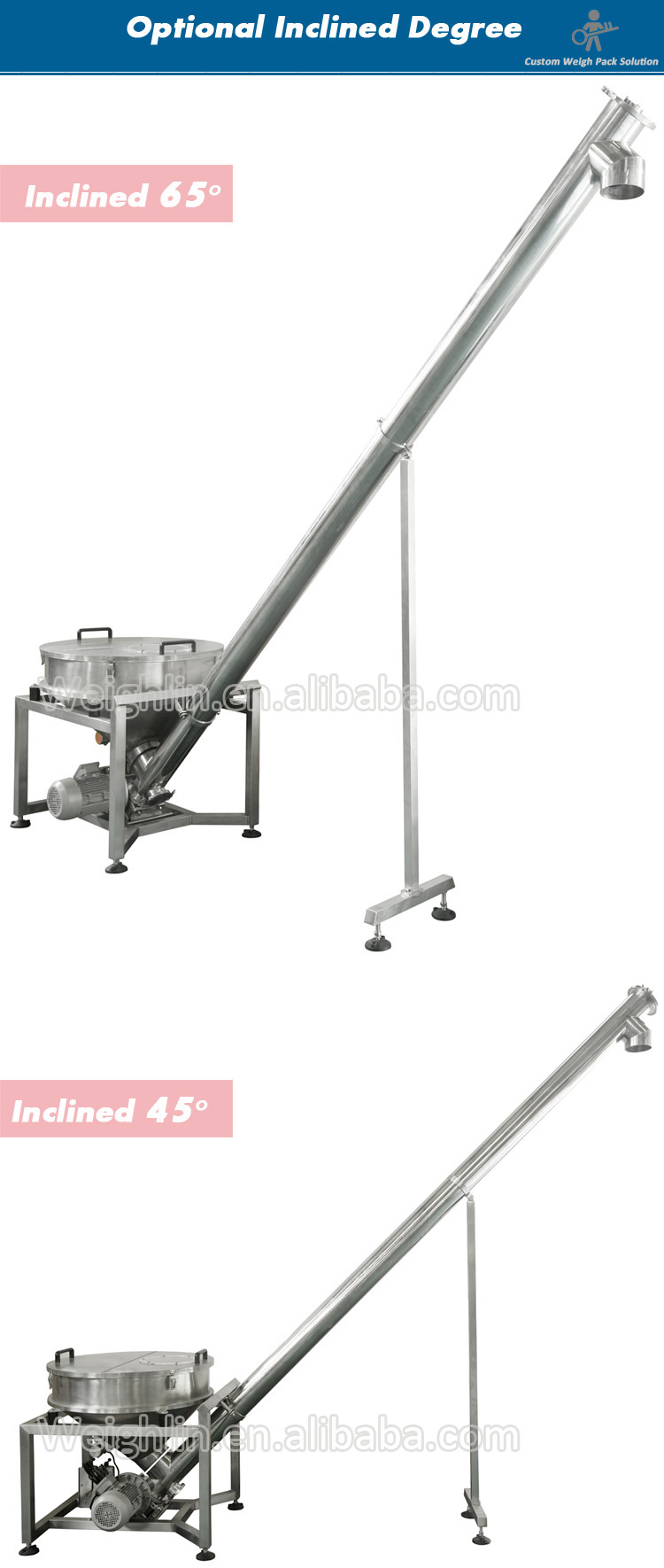 Moveable motor driving auger screw conveyor spiral elevator for powder sands ice cube