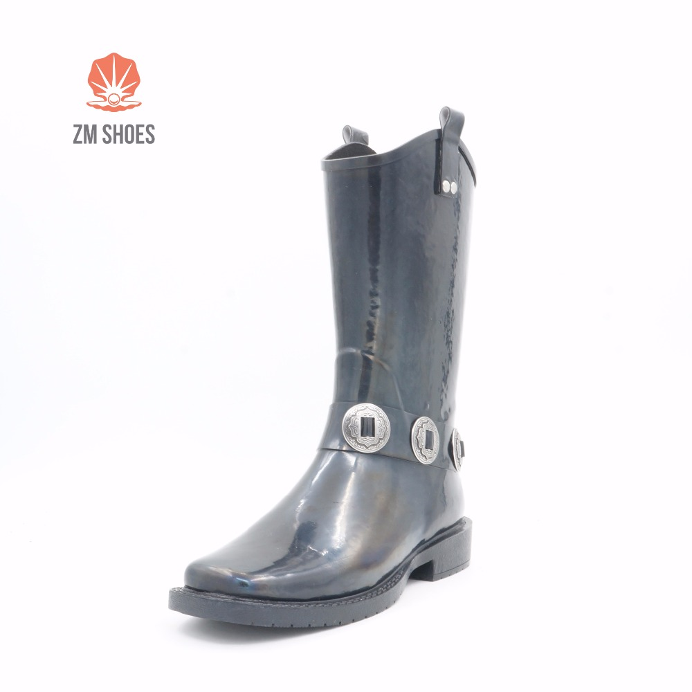 Fancy good price shiny cowboy black rain boots for women