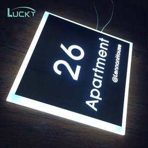 China 3D room door number plate and acrylic Hotel door number sign