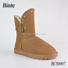 Hot items 2015 fashion new design ladies cow suede buckle rivet boot