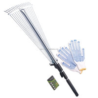 "28""-57"" Length Telescopic Steel Garden Rake 15 Tine Adjustable Garden Leaf Rake with 1pair Work Gloves (Zinc Coated)"