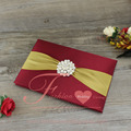 Hot Sell Luxurious Hard Cover Silk Wedding Invitations Burgundy