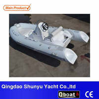 CE certificate hypalon material rigid double hull fiberglass inflatable boat