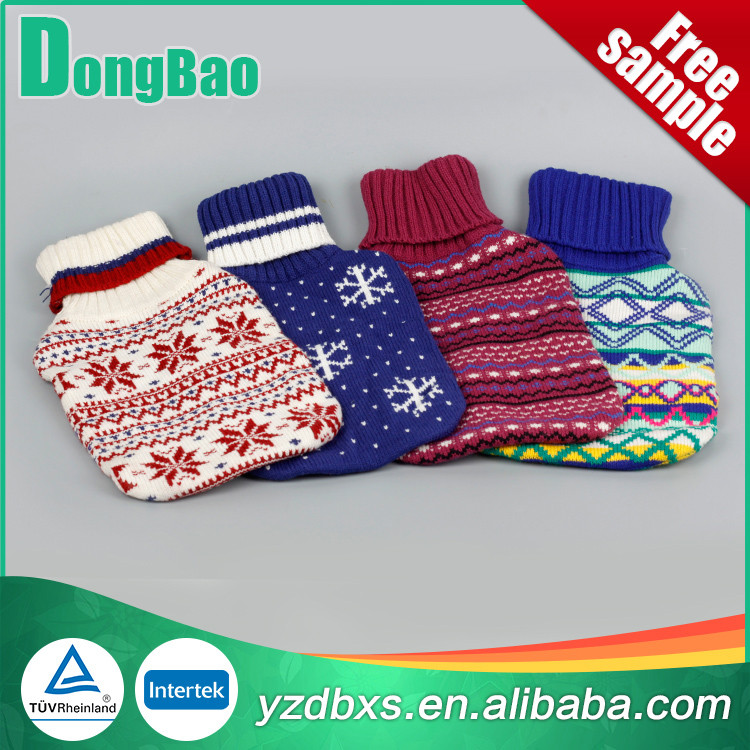 four colourful knitted hot water bag cover