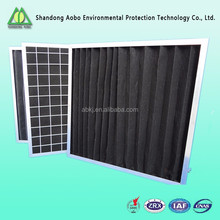 High Temperature Nonwovens aluminum frame medium efficiency activate carbon pre air filter