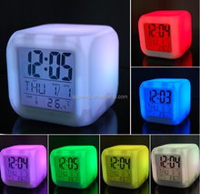 Factory Direct Colorful LED Touch Light rubik Cube Alarm table Clock