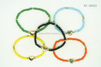 colorful acrylic Bead Bracelet with alloy heart
