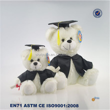 High quality white color stuffed plush graduation teddy bear
