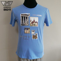 Ladies fashion design in-stock and eco-friendly man t-shirt 86011 blue