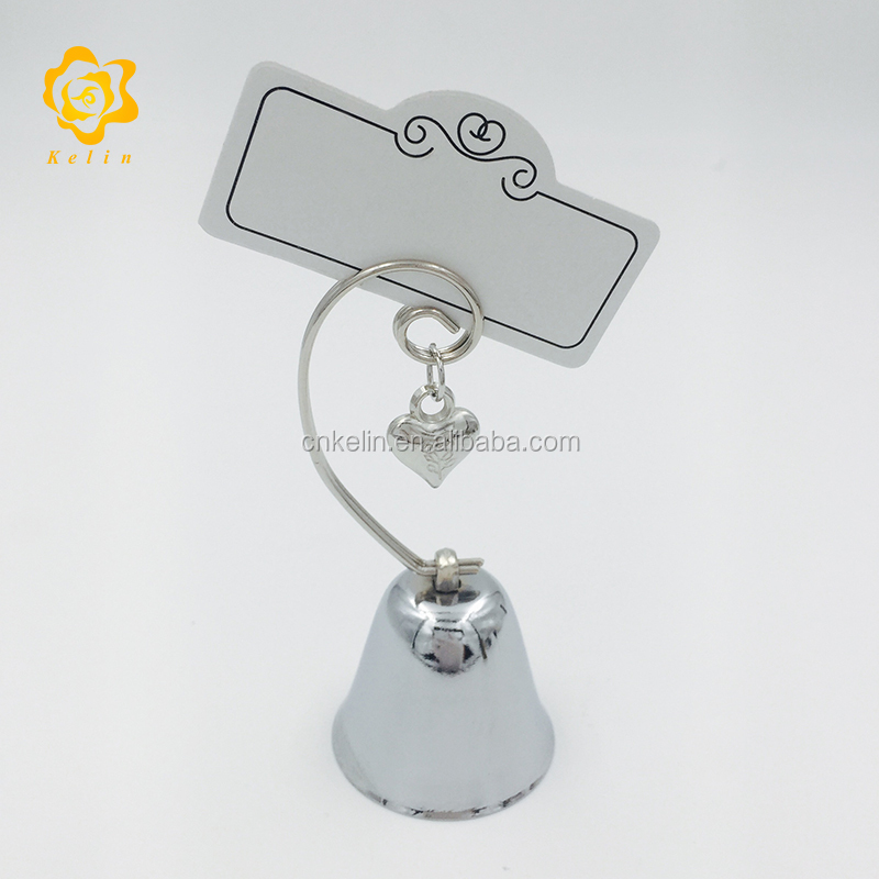 <strong>Wedding</strong> favors gifts Bell Place Card Holder with Dangling Heart