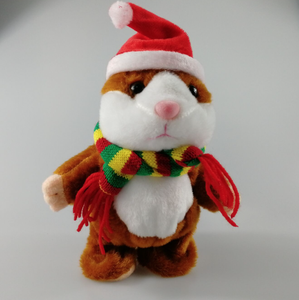 Customized Hot Sale Christmas style talking Hamster Sound Record Plush toys for kids