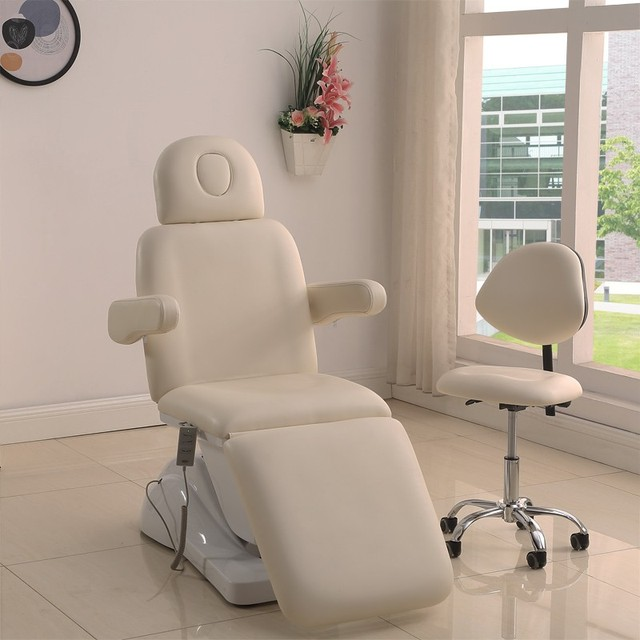 Salon PU face white cosmetic 3 folding electric facial beauty bed with white salon chair for tattoo, facial spa, facial massage
