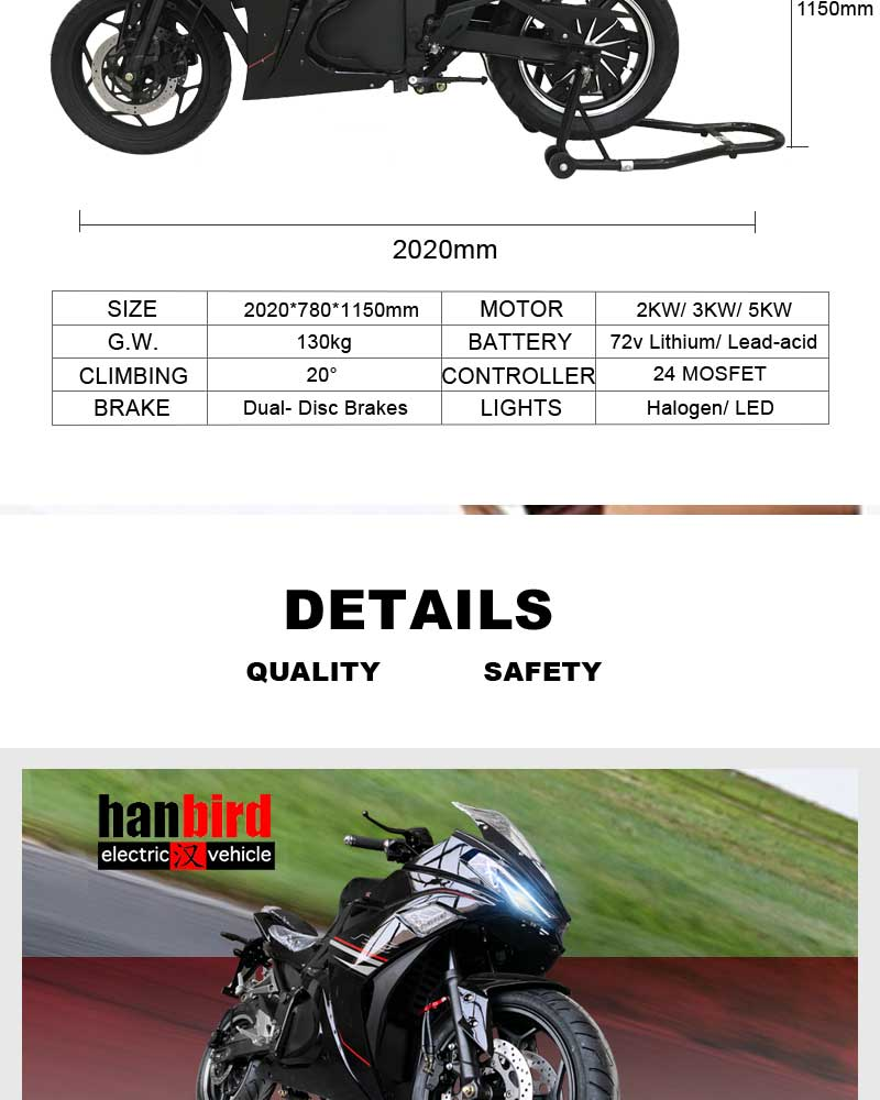 China Factory Export High Quality Adult Electric Motorcycle For Sale