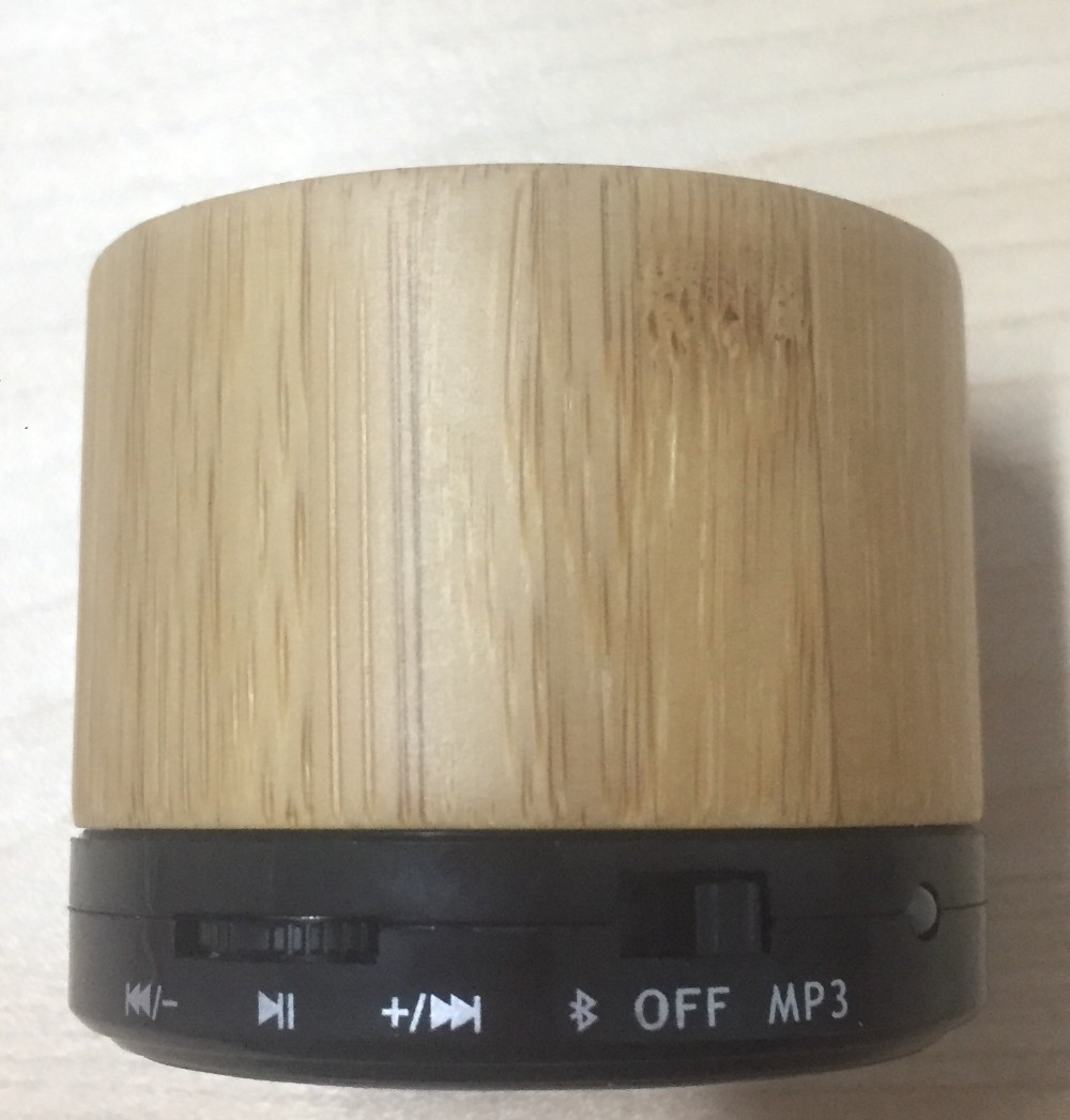 Bamboo wood stereo speaker box, round shape bluetooth speaker