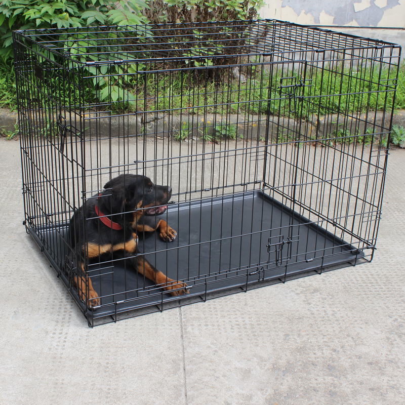 New brand 2017 double-door dog cage with wheels