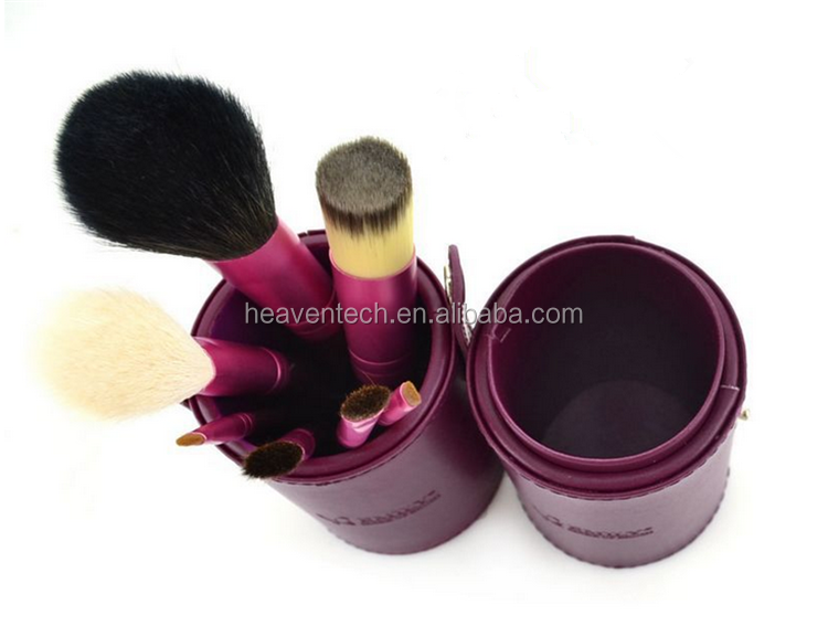 Hot Sale, Mini 7 Pcs Make Up Brushes, Cosmetic Blue Color Brushes Kit with Roller Case