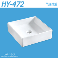 Bathroom No Hole Square Counter Top Wash Basin