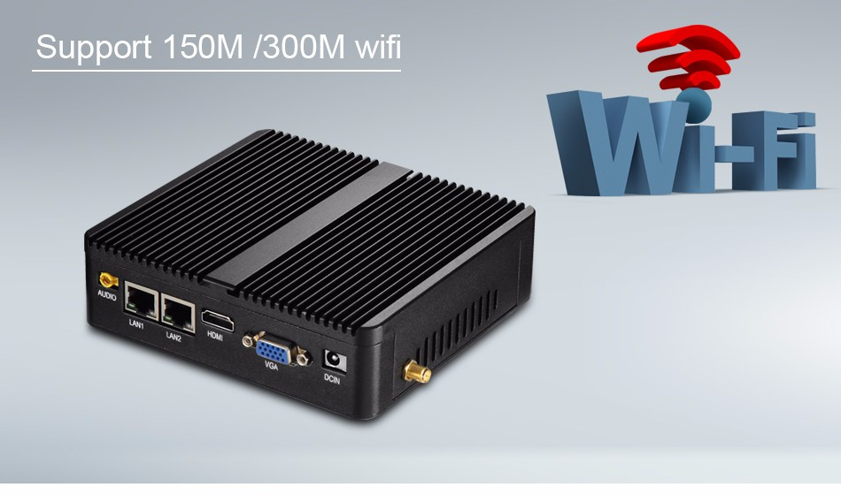 XCY Mini PC J1900 8G RAM 32G SSD WIFI Processor Fanless Mini PC Computer Support Window 10/7/8 Dual LAN 2*RS-232 for office