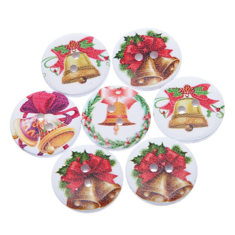 2015 New Style 100PCs Mixed Wooden Buttons Christmas Jingling Bell Fit Sewing And Scrapbook