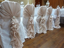 Fancy Organza Curly Willow Chair Cover Sash Ruffled Wedding Chair Covers Organza Wedding Chair Hood Sash