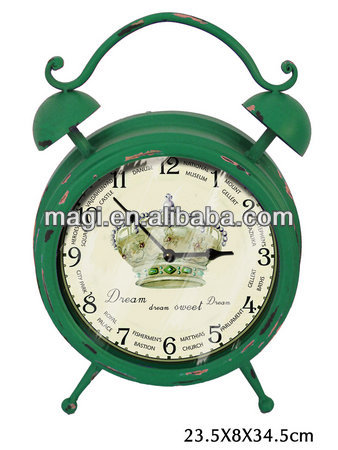 Antique alarm shape metal table decoration clock