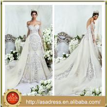 DS-07 High Quality Beaded Crystals Wedding Bridal Gown with Detachable Train Sexy Off Shoulder Zuhair Murad Wedding Dress Prices
