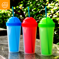 Free Sample Double Wall Plastic Drinking Cup With Straw,Best As Gift,480ml16oz