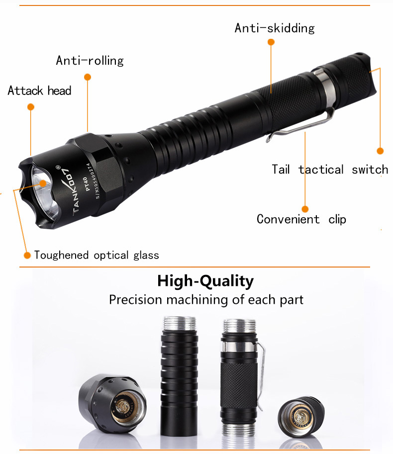 High power self-denfense U2 LED police security emergency fighting tool LED flashlight