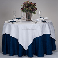 white /blue polyester /cotton weeding decoration table cloth /table cover