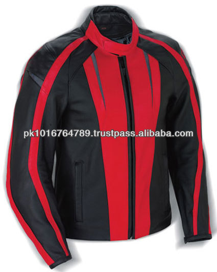 Red Leather Motorcycle Jackets, Trendy Leather Racing Jackets