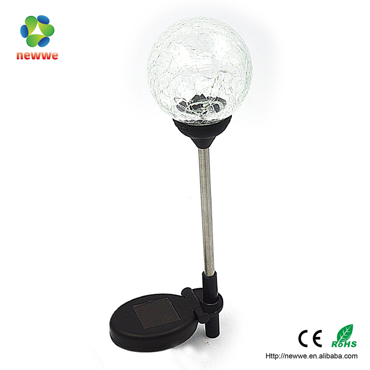 1LED blinking Colorful round glass ball head lights ourdoor lamp solar charging lawn yard lamp garden night solar led light
