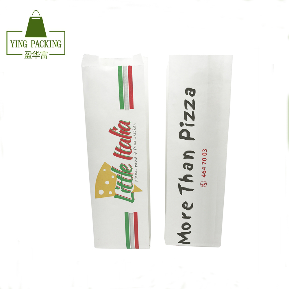 Best quality FDA certificate custom size white paper bag food packaging for pizza