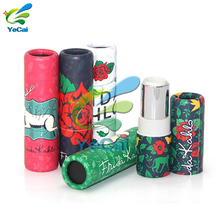 Custom packaging box cosmetic kraft paper tubes biodegradable eco friendly push up paper lip balm tube