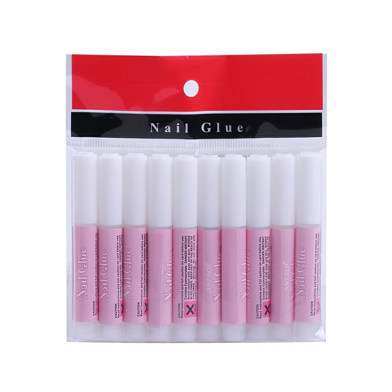 Promotional Mini Portable 10 Pieces 2g PE Plastic Bottle Packed Strong Strength Instant Dry Liquid Nail Glue