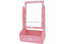 High quality painting patterns customized factory supply wooden mirror frame rack with box holder